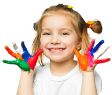 Child showing painted hands